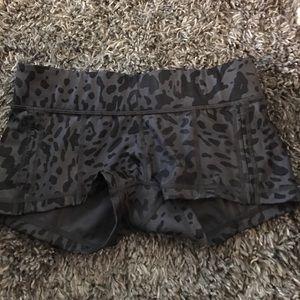 Lulu lemon black leopard workout shorts
